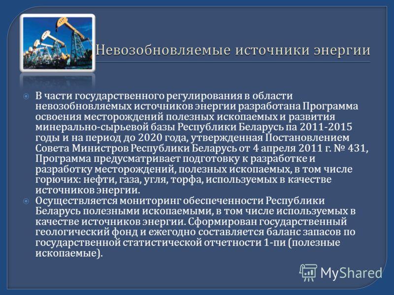 В части государственного регулирования в области невозобновляемых источников энергии разработана Программа освоения месторождений полезных ископаемых и развития минерально - сырьевой базы Республики Беларусь па 2011-2015 годы и на период до 2020 года