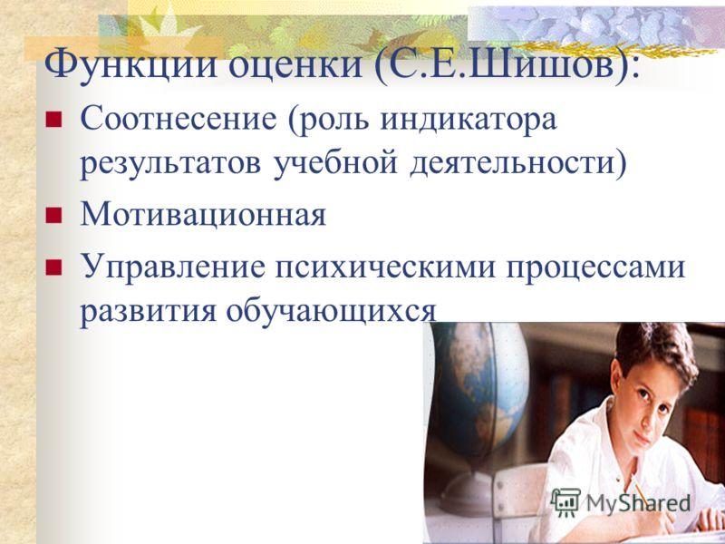 Функции оценки (С.Е.Шишов): Соотнесение (роль индикатора результатов учебной деятельности) Мотивационная Управление психическими процессами развития обучающихся