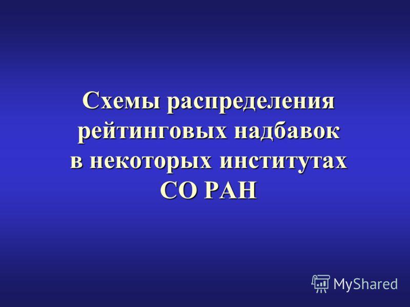 Схемы распределения рейтинговых надбавок в некоторых институтах СО РАН