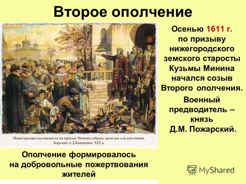 Второе ополчение Осенью 1611 г. по призыву нижегородского земского старосты Кузьмы Минина начался созыв Второго ополчения. Военный предводитель – князь Д.М. Пожарский. Ополчение формировалось на добровольные пожертвования жителей
