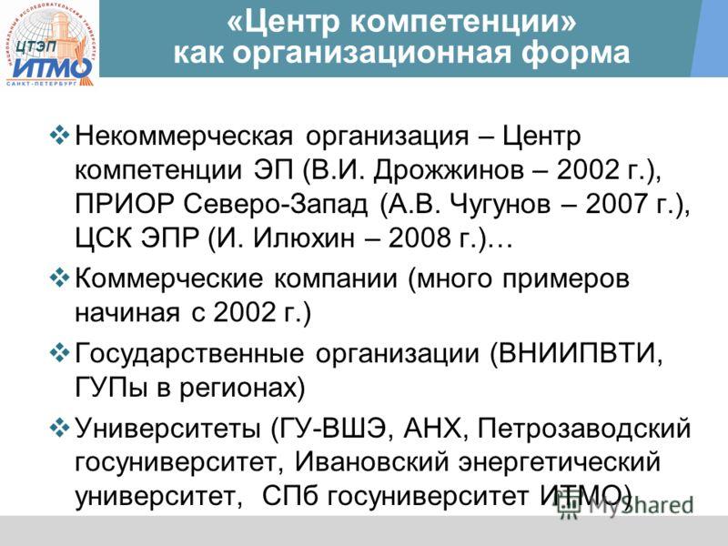 ЦТЭП «Центр компетенции» как организационная форма Некоммерческая организация – Центр компетенции ЭП (В.И. Дрожжинов – 2002 г.), ПРИОР Северо-Запад (А.В. Чугунов – 2007 г.), ЦСК ЭПР (И. Илюхин – 2008 г.)… Коммерческие компании (много примеров начиная
