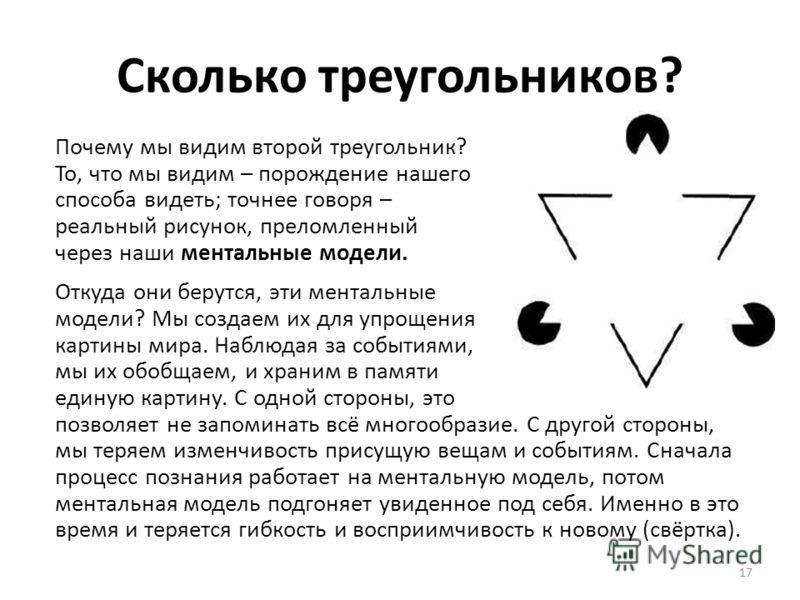 Сколько треугольников? Почему мы видим второй треугольник? То, что мы видим – порождение нашего способа видеть; точнее говоря – реальный рисунок, преломленный через наши ментальные модели. Откуда они берутся, эти ментальные модели? Мы создаем их для