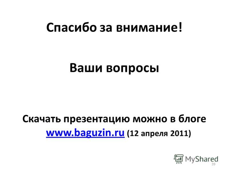 Спасибо за внимание! Ваши вопросы Скачать презентацию можно в блоге www.baguzin.ru (12 апреля 2011) www.baguzin.ru 39