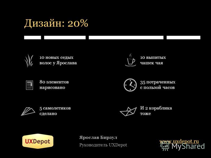 Дизайн: 20% Ярослав Бирзул Руководитель UXDepot www.uxdepot.ru 10 новых седых волос у Ярослава 80 элементов нарисовано 5 самолетиков сделано 10 выпитых чашек чая 35 потраченных с пользой часов И 2 кораблика тоже