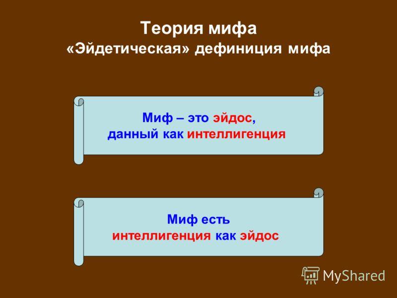Теория мифа «Эйдетическая» дефиниция мифа Миф – это эйдос, данный как интеллигенция Миф есть интеллигенция как эйдос
