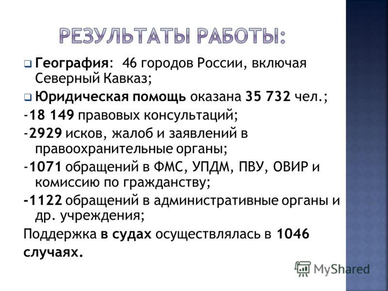 География: 46 городов России, включая Северный Кавказ; Юридическая помощь оказана 35 732 чел.; -18 149 правовых консультаций; -2929 исков, жалоб и заявлений в правоохранительные органы; -1071 обращений в ФМС, УПДМ, ПВУ, ОВИР и комиссию по гражданству