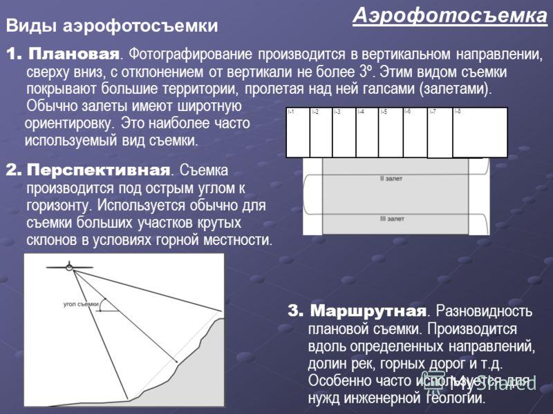 Аэрофотосъемка Виды аэрофотосъемки 1. Плановая. Фотографирование производится в вертикальном направлении, сверху вниз, с отклонением от вертикали не более 3º. Этим видом съемки покрывают большие территории, пролетая над ней галсами (залетами). Обычно