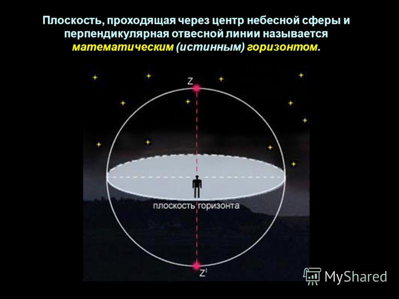 Плоскость, проходящая через центр небесной сферы и перпендикулярная отвесной линии называется математическим (истинным) горизонтом.