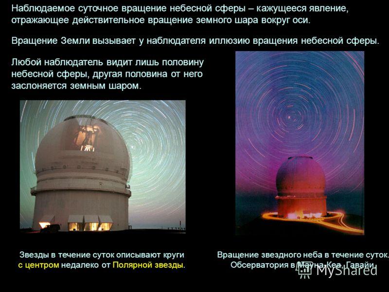 Звезды в течение суток описывают круги с центром недалеко от Полярной звезды. Наблюдаемое суточное вращение небесной сферы – кажущееся явление, отражающее действительное вращение земного шара вокруг оси. Вращение звездного неба в течение суток. Обсер