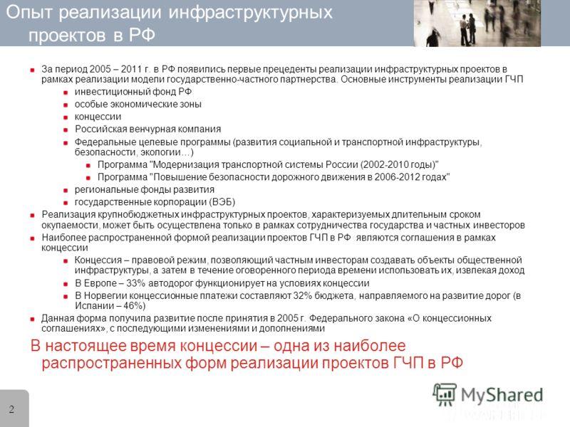 2 Опыт реализации инфраструктурных проектов в РФ За период 2005 – 2011 г. в РФ появились первые прецеденты реализации инфраструктурных проектов в рамках реализации модели государственно-частного партнерства. Основные инструменты реализации ГЧП инвест