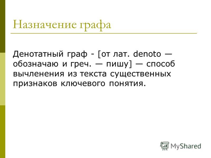 Назначение графа Денотатный граф - [от лат. denoto обозначаю и греч. пишу] способ вычленения из текста существенных признаков ключевого понятия.