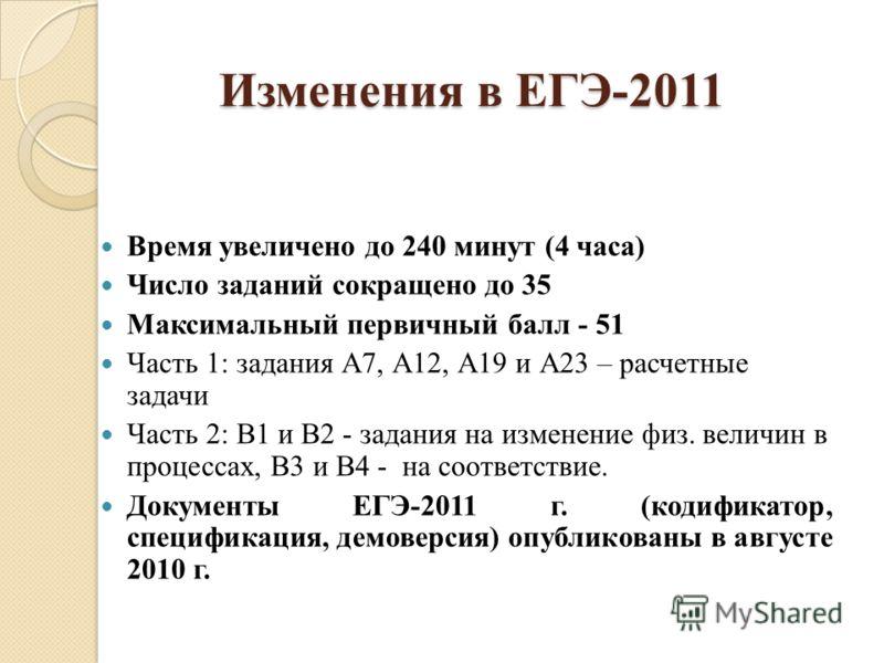 Изменения в ким егэ по физике в 2011 году