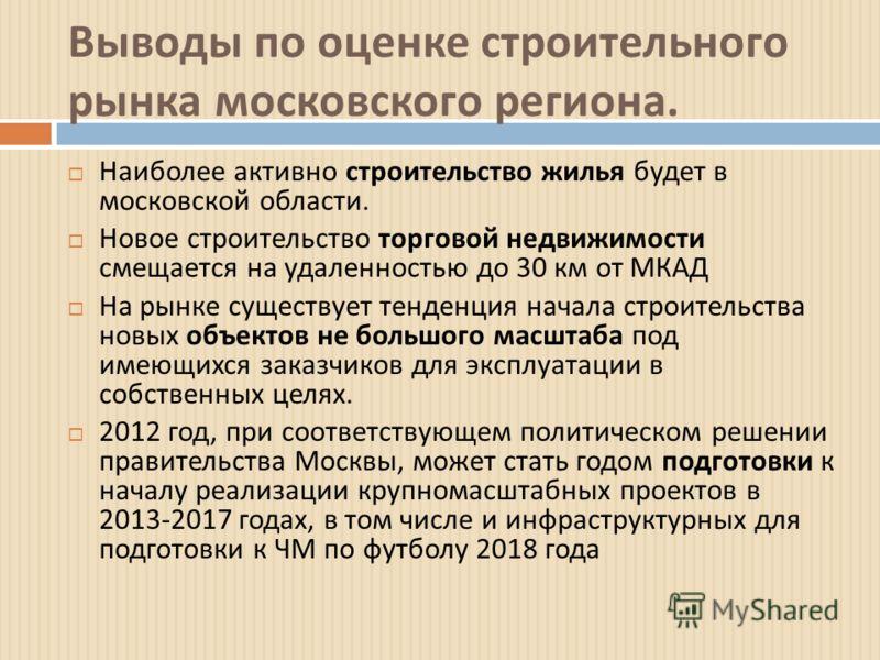 Выводы по оценке строительного рынка московского региона. Наиболее активно строительство жилья будет в московской области. Новое строительство торговой недвижимости смещается на удаленностью до 30 км от МКАД На рынке существует тенденция начала строи
