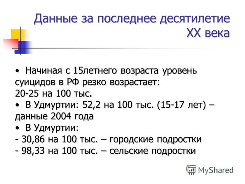 Начиная с 15летнего возраста уровень суицидов в РФ резко возрастает: 20-25 на 100 тыс. Начиная с 15летнего возраста уровень суицидов в РФ резко возрастает: 20-25 на 100 тыс. В Удмуртии: 52,2 на 100 тыс. (15-17 лет) – данные 2004 года В Удмуртии: 52,2