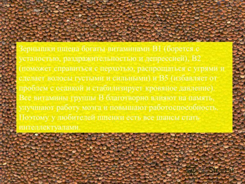 Зернышки пшена богаты витаминами В1 (борется с усталостью, раздражительностью и депрессией), В2 (поможет справиться с перхотью, распрощаться с угрями и сделает волосы густыми и сильными) и В5 (избавляет от проблем с осанкой и стабилизирует кровяное д