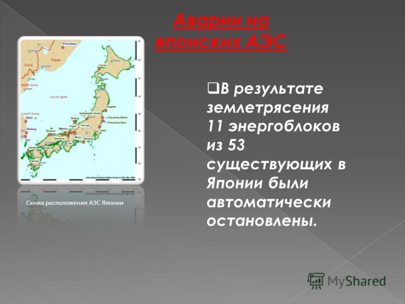 Аварии на японских АЭС Схема расположения АЭС Японии В результате землетрясения 11 энергоблоков из 53 существующих в Японии были автоматически остановлены.
