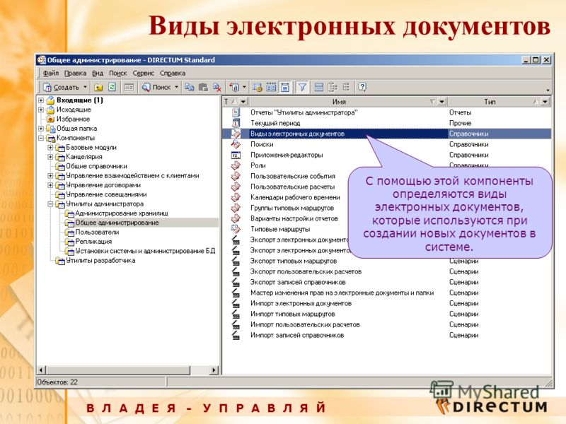 Виды электронных документов В Л А Д Е Я - У П Р А В Л Я Й С помощью этой компоненты определяются виды электронных документов, которые используются при создании новых документов в системе.