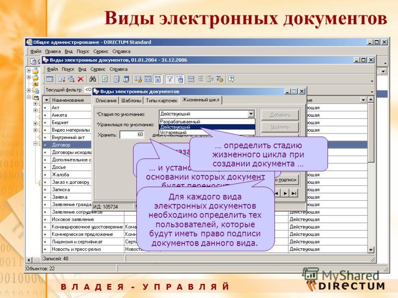 Виды электронных документов В Л А Д Е Я - У П Р А В Л Я Й … указать оперативное хранилище, в которое будет помещаться новый документ, … … и установить правила, на основании которых документ будет переноситься в архивное хранилище. Для каждого вида эл