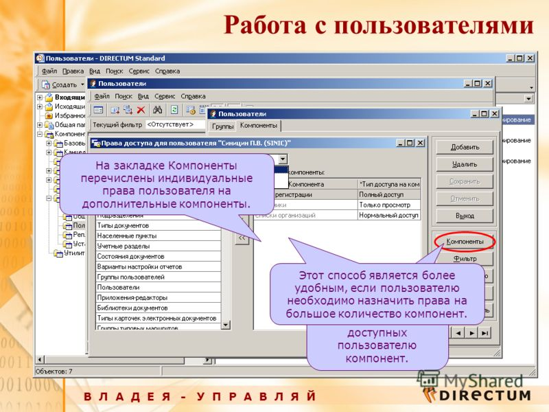 В Л А Д Е Я - У П Р А В Л Я Й Работа с пользователями С помощью кнопки Компоненты можно заполнить список доступных пользователю компонент. На закладке Компоненты перечислены индивидуальные права пользователя на дополнительные компоненты. Этот способ