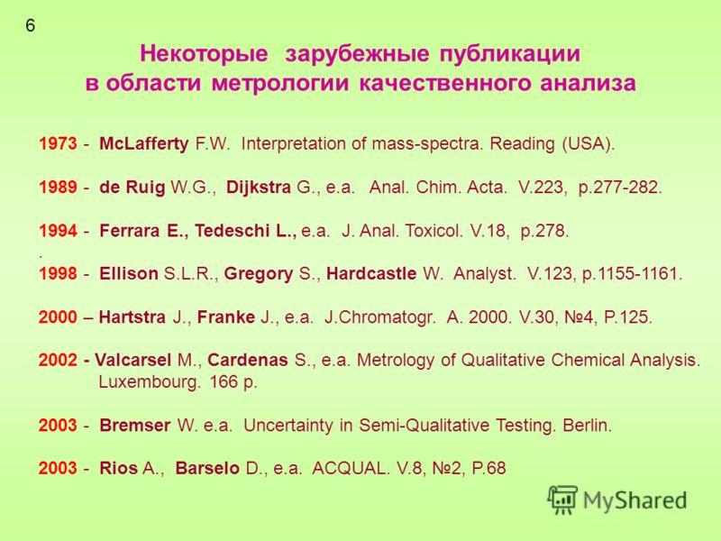 Некоторые зарубежные публикации в области метрологии качественного анализа 1973 - McLafferty F.W. Interpretation of mass-spectra. Reading (USA). 1989 - de Ruig W.G., Dijkstra G., e.a. Anal. Chim. Acta. V.223, p.277-282. 1994 - Ferrara E., Tedeschi L.