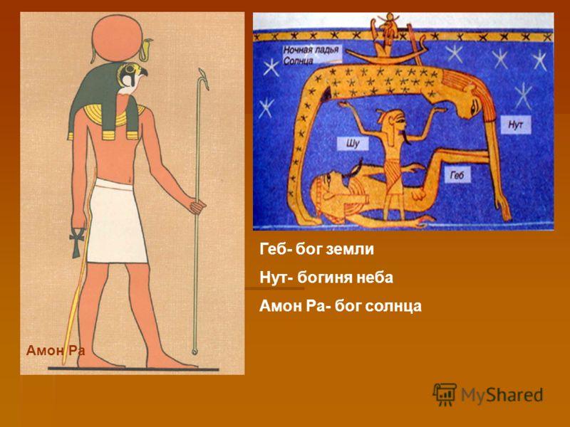 Амон Ра Геб- бог земли Нут- богиня неба Амон Ра- бог солнца