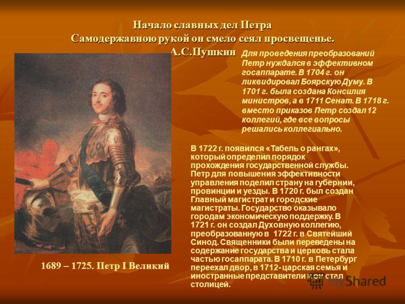 Начало славных дел Петра Самодержавною рукой он смело сеял просвещенье. А.С.Пушкин Для проведения преобразований Петр нуждался в эффективном госаппарате. В 1704 г. он ликвидировал Боярскую Думу. В 1701 г. была создана Консилия министров, а в 1711 Сен