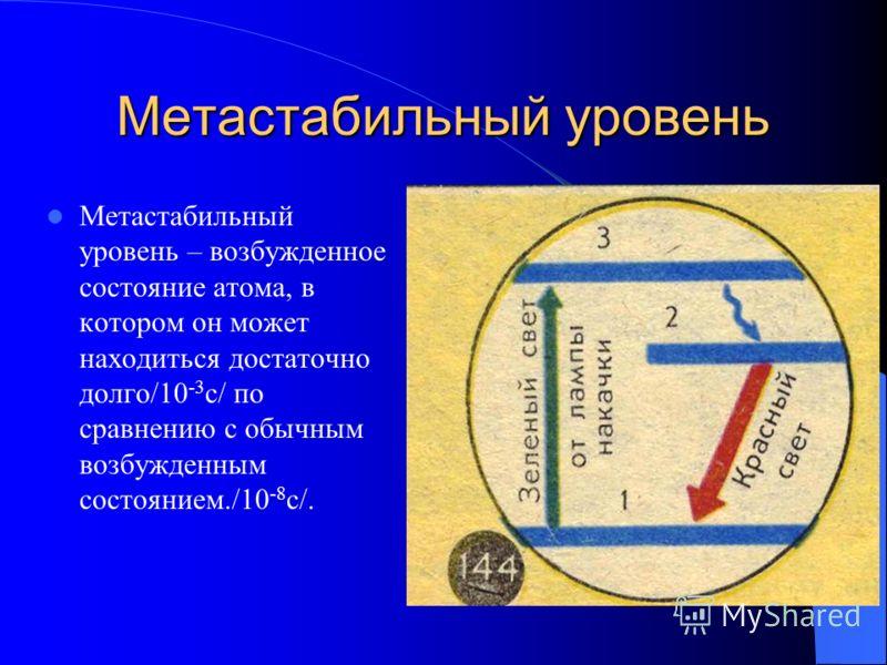 Метастабильный уровень Метастабильный уровень – возбужденное состояние атома, в котором он может находиться достаточно долго/10 -3 с/ по сравнению с обычным возбужденным состоянием./10 -8 с/.