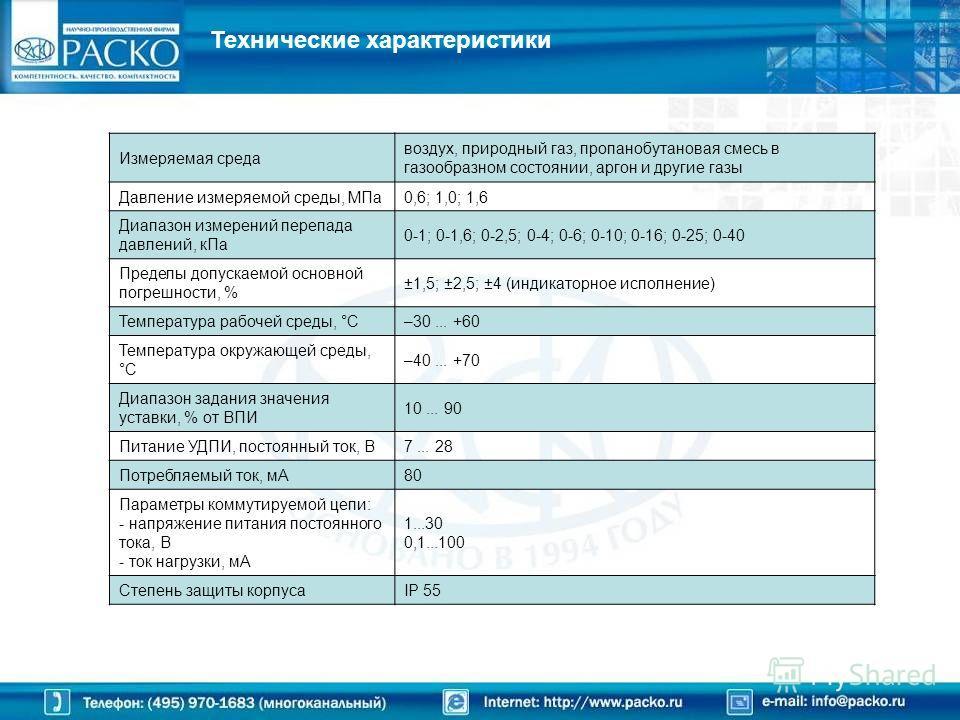 Технические характеристики Измеряемая среда воздух, природный газ, пропанобутановая смесь в газообразном состоянии, аргон и другие газы Давление измеряемой среды, МПа0,6; 1,0; 1,6 Диапазон измерений перепада давлений, кПа 0-1; 0-1,6; 0-2,5; 0-4; 0-6;