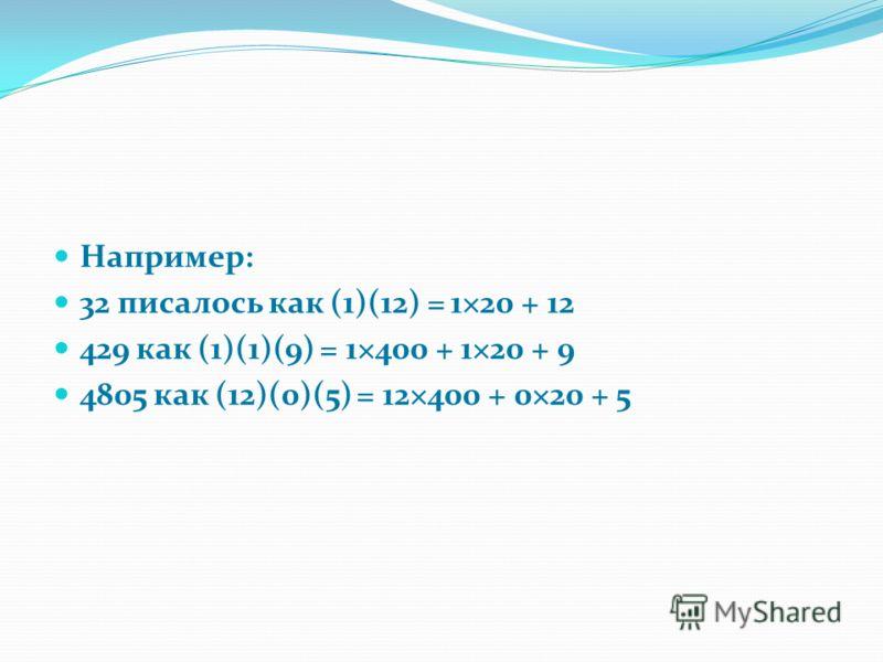 Например: 32 писалось как (1)(12) = 1×20 + 12 429 как (1)(1)(9) = 1×400 + 1×20 + 9 4805 как (12)(0)(5) = 12×400 + 0×20 + 5
