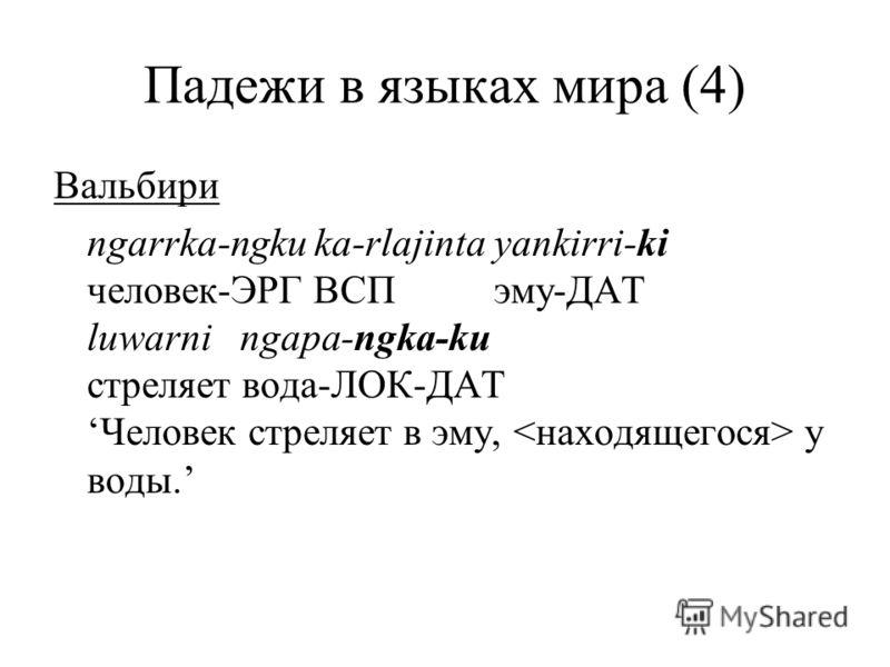Падежи в языках мира (4) Вальбири ngarrka-ngku ka-rlajinta yankirri-ki человек-ЭРГ ВСП эму-ДАТ luwarni ngapa-ngka-ku стреляет вода-ЛОК-ДАТЧеловек стреляет в эму, у воды.
