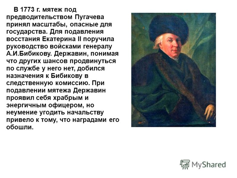 В 1773 г. мятеж под предводительством Пугачева принял масштабы, опасные для государства. Для подавления восстания Екатерина II поручила руководство войсками генералу А.И.Бибикову. Державин, понимая что других шансов продвинуться по службе у него нет,