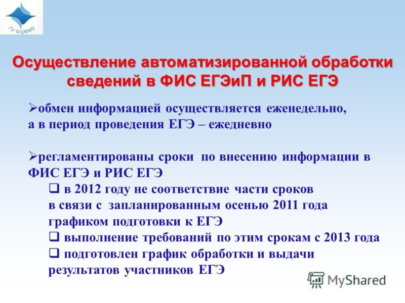 обмен информацией осуществляется еженедельно, а в период проведения ЕГЭ – ежедневно регламентированы сроки по внесению информации в ФИС ЕГЭ и РИС ЕГЭ в 2012 году не соответствие части сроков в связи с запланированным осенью 2011 года графиком подгото