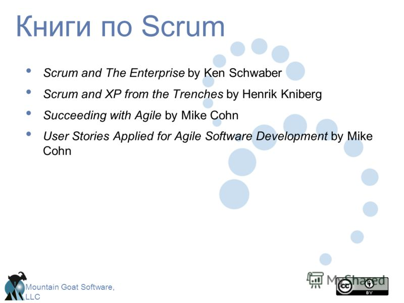 Mountain Goat Software, LLC Книги по Scrum Scrum and The Enterprise by Ken Schwaber Scrum and XP from the Trenches by Henrik Kniberg Succeeding with Agile by Mike Cohn User Stories Applied for Agile Software Development by Mike Cohn