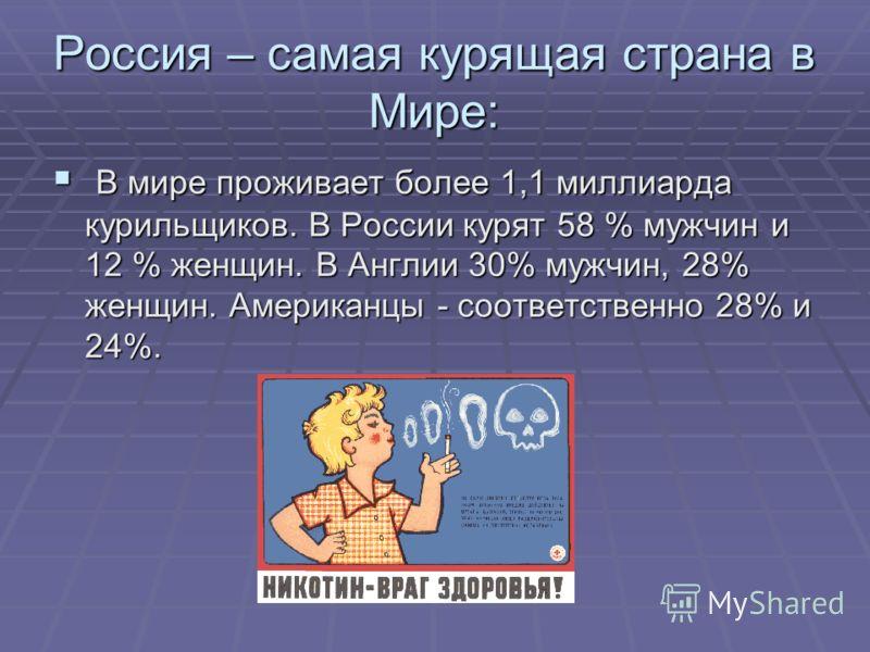 Россия – самая курящая страна в Мире: В мире проживает более 1,1 миллиарда курильщиков. В России курят 58 % мужчин и 12 % женщин. В Англии 30% мужчин, 28% женщин. Американцы - соответственно 28% и 24%. В мире проживает более 1,1 миллиарда курильщиков