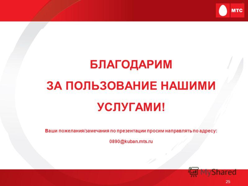 25 БЛАГОДАРИМ ЗА ПОЛЬЗОВАНИЕ НАШИМИ УСЛУГАМИ! Ваши пожелания/замечания по презентации просим направлять по адресу: 0890@kuban.mts.ru