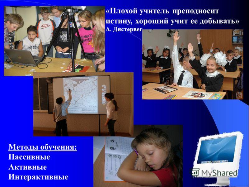 Методы обучения: Пассивные Активные Интерактивные «Плохой учитель преподносит истину, хороший учит ее добывать» А. Дистервег