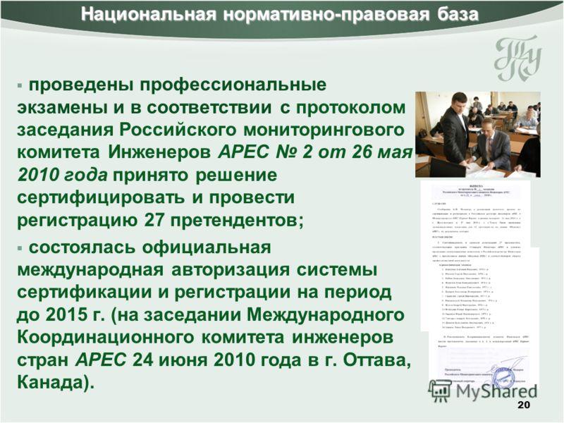20 проведены профессиональные экзамены и в соответствии с протоколом заседания Российского мониторингового комитета Инженеров APEC 2 от 26 мая 2010 года принято решение сертифицировать и провести регистрацию 27 претендентов; состоялась официальная ме