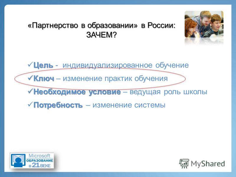 «Партнерство в образовании» в России: ЗАЧЕМ? Цель Цель - индивидуализированное обучение Ключ Ключ – изменение практик обучения Необходимое условие Необходимое условие – ведущая роль школы Потребность Потребность – изменение системы