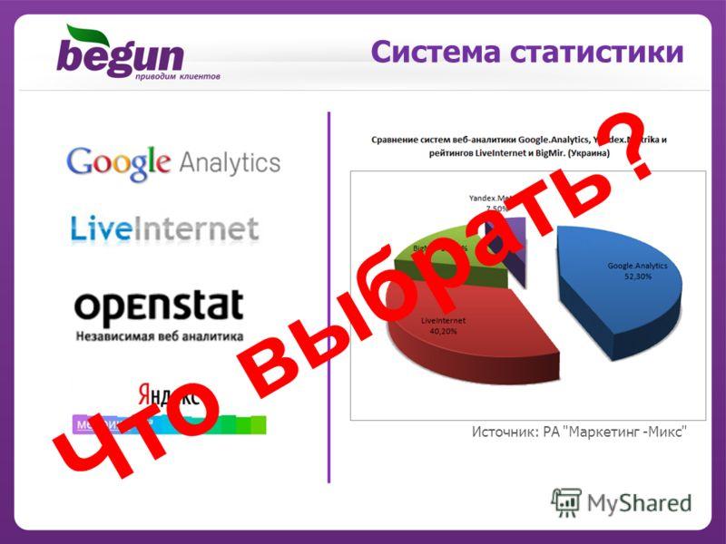 Система статистики Источник: РА Маркетинг -Микс Ч т о в ы б р а т ь ?