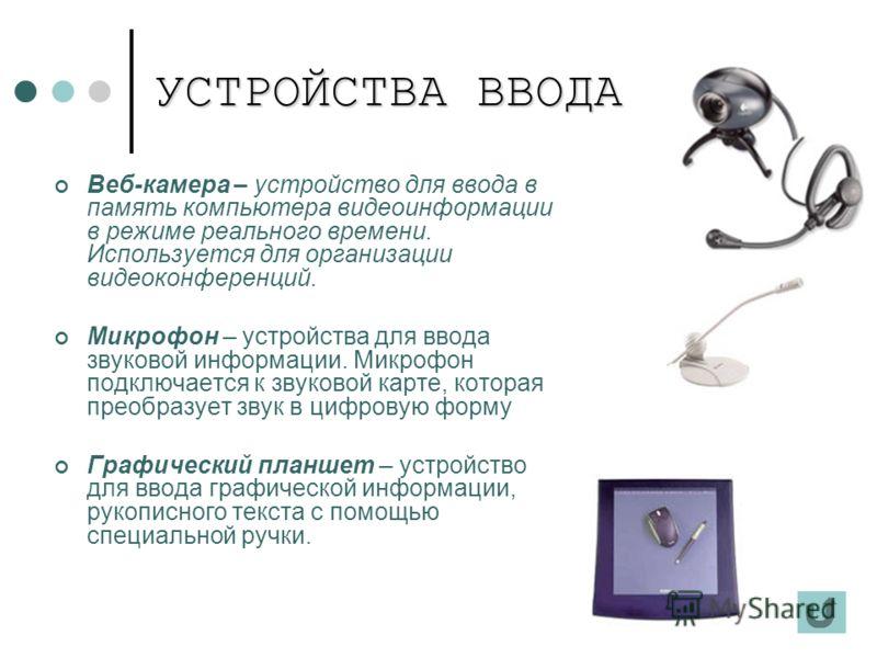 УСТРОЙСТВА ВВОДА Веб-камера – устройство для ввода в память компьютера видеоинформации в режиме реального времени. Используется для организации видеоконференций. Микрофон – устройства для ввода звуковой информации. Микрофон подключается к звуковой ка