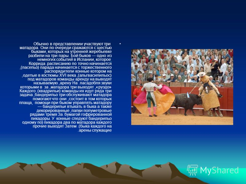 Обычно в представлении участвуют три матадора. Они по очереди сражаются с шестью быками, которых на утренней жеребьевке разбили на три пары. Бой быков одно из немногих событий в Испании, которое начинается точно по расписанию. Коррида начинается с то