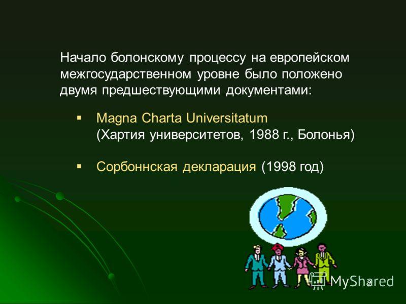 Magna Charta Universitatum (Хартия университетов, 1988 г., Болонья) Сорбоннская декларация (1998 год) Начало болонскому процессу на европейском межгосударственном уровне было положено двумя предшествующими документами: 2