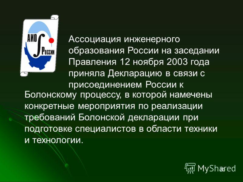 Ассоциация инженерного образования России на заседании Правления 12 ноября 2003 года приняла Декларацию в связи с присоединением России к 20 На слайд Болонскому процессу, в которой намечены конкретные мероприятия по реализации требований Болонской де