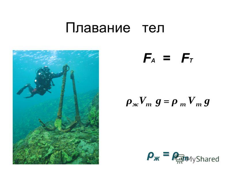 Плавание тел F А = F Т ρж = ρ тρж = ρ тρж = ρ тρж = ρ т ρ ж V т g = ρ т V т g