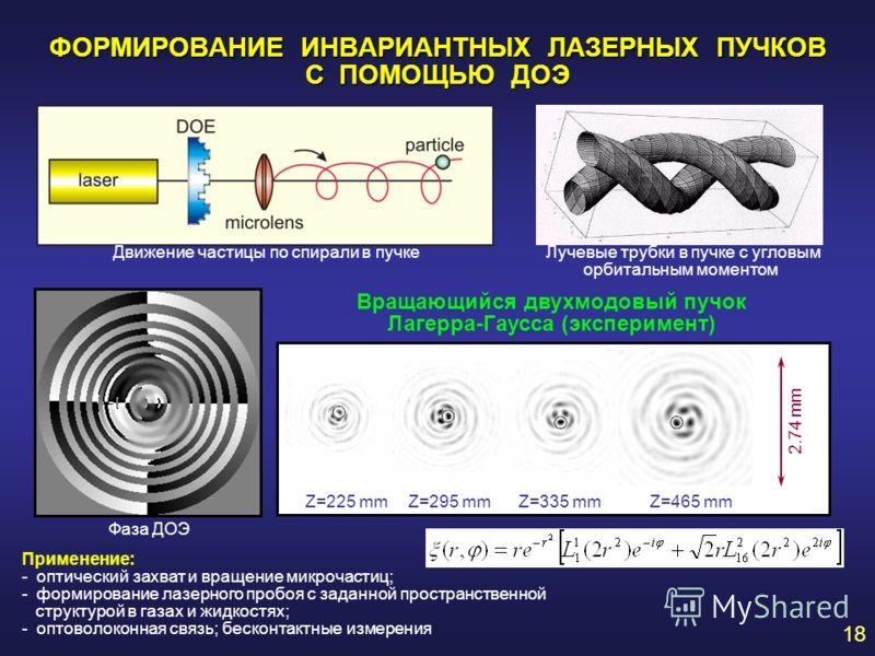 ФОРМИРОВАНИЕ ИНВАРИАНТНЫХ ЛАЗЕРНЫХ ПУЧКОВ С ПОМОЩЬЮ ДОЭ Вращающийся двухмодовый пучок Лагерра-Гаусса (эксперимент) Z=225 mmZ=295 mmZ=335 mmZ=465 mm2.74 mm Фаза ДОЭ Применение: - оптический захват и вращение микрочастиц; - формирование лазерного пробо