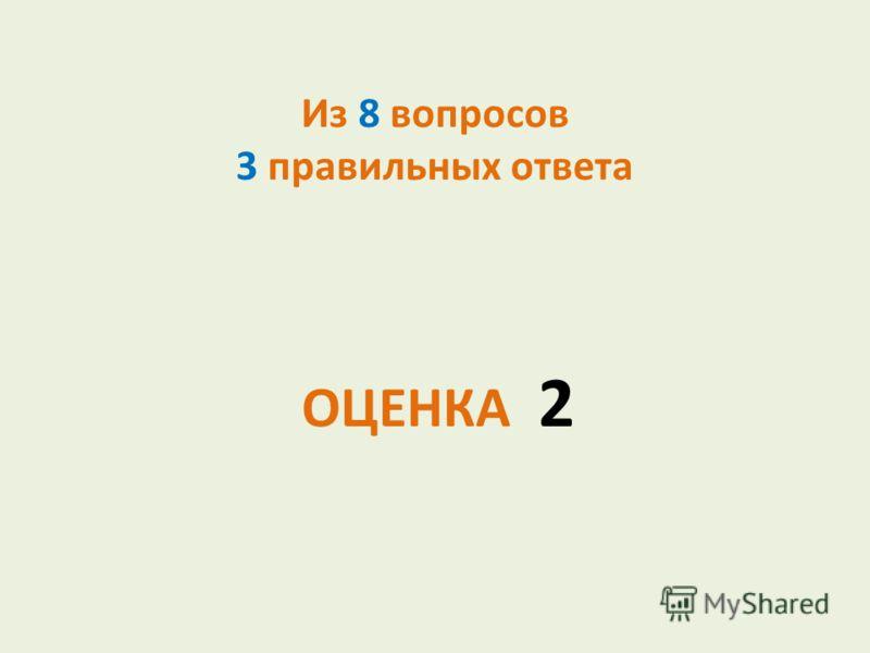Из 8 вопросов 3 правильных ответа ОЦЕНКА 2
