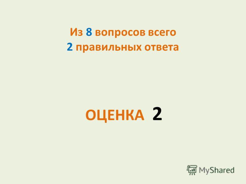 Из 8 вопросов всего 2 правильных ответа ОЦЕНКА 2