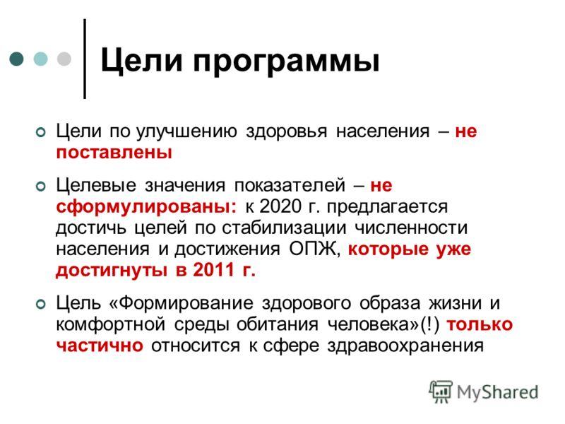 Цели программы Цели по улучшению здоровья населения – не поставлены Целевые значения показателей – не сформулированы: к 2020 г. предлагается достичь целей по стабилизации численности населения и достижения ОПЖ, которые уже достигнуты в 2011 г. Цель «