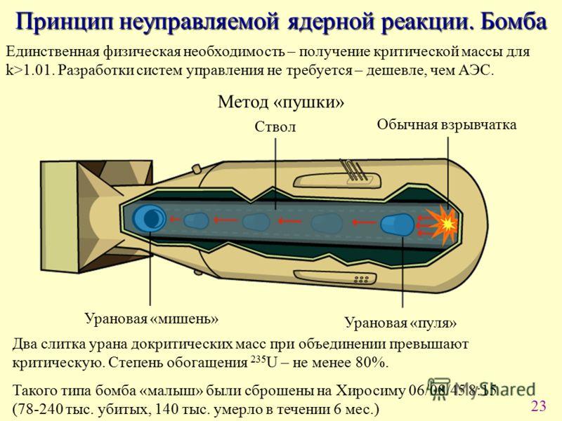 23 Принцип неуправляемой ядерной реакции. Бомба Единственная физическая необходимость – получение критической массы для k>1.01. Разработки систем управления не требуется – дешевле, чем АЭС. Метод «пушки» Ствол Обычная взрывчатка Урановая «пуля» Урано
