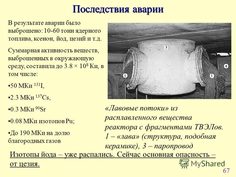 67 Последствия аварии В результате аварии было выброшено: 10-60 тонн ядерного топлива, ксенон, йод, цезий и т.д. Суммарная активность веществ, выброшенных в окружающую среду, составила до 3.8 × 10 8 Ки, в том числе: 50 МКи 131 I, 2.3 МКи 137 Cs, 0.3